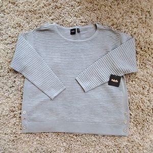 Rafaella Ribbed Crewneck Sweater in Dove Gray